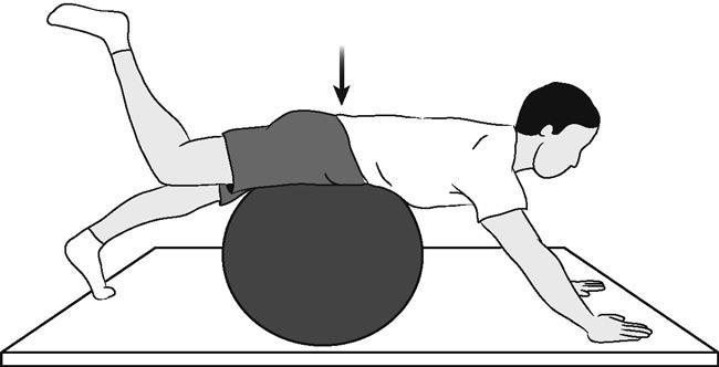 Поясничное упражнение по стабилизации со швейцарским мячом, лежащее на шаре